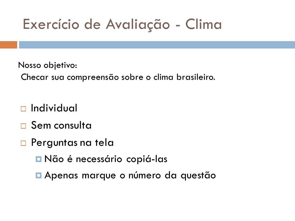Exercício de Avaliação - Clima