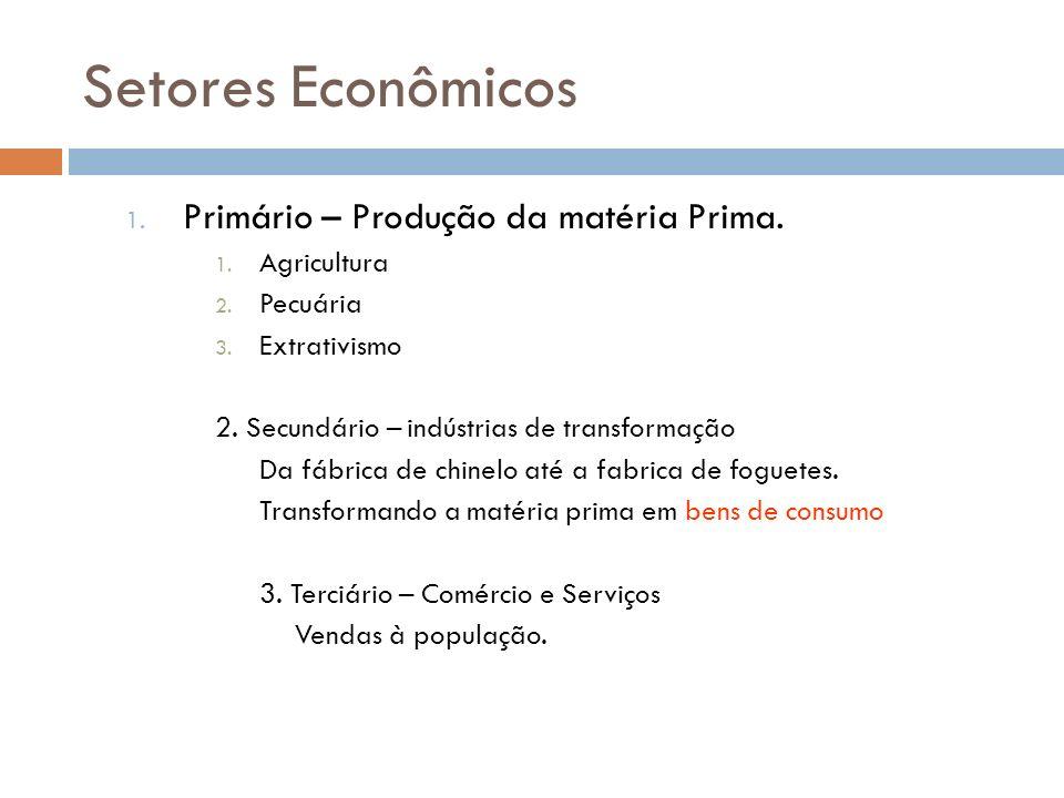 Setores Econômicos Primário – Produção da matéria Prima. Agricultura