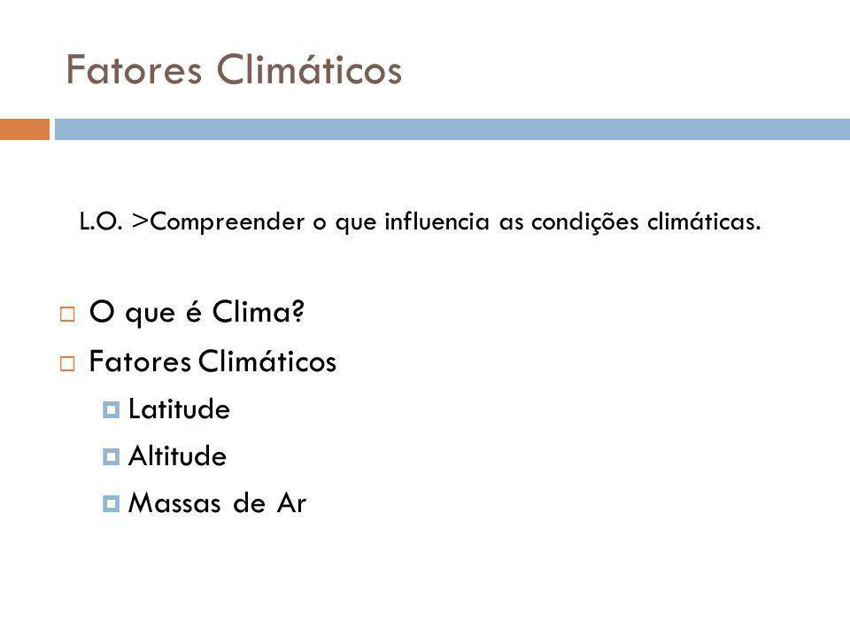 Fatores Climáticos O que é Clima Fatores Climáticos Latitude Altitude