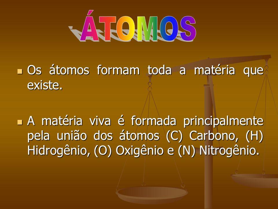 ÁTOMOS Os átomos formam toda a matéria que existe.