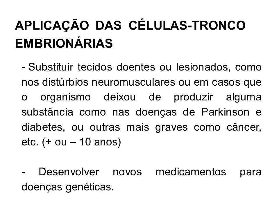 APLICAÇÃO DAS CÉLULAS-TRONCO EMBRIONÁRIAS