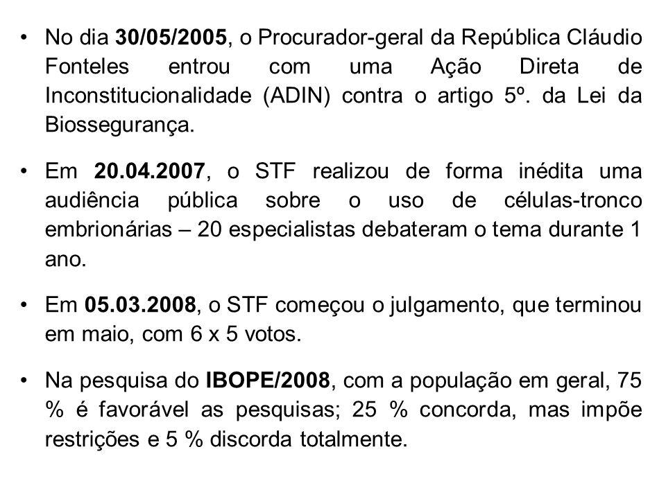 No dia 30/05/2005, o Procurador-geral da República Cláudio Fonteles entrou com uma Ação Direta de Inconstitucionalidade (ADIN) contra o artigo 5º. da Lei da Biossegurança.