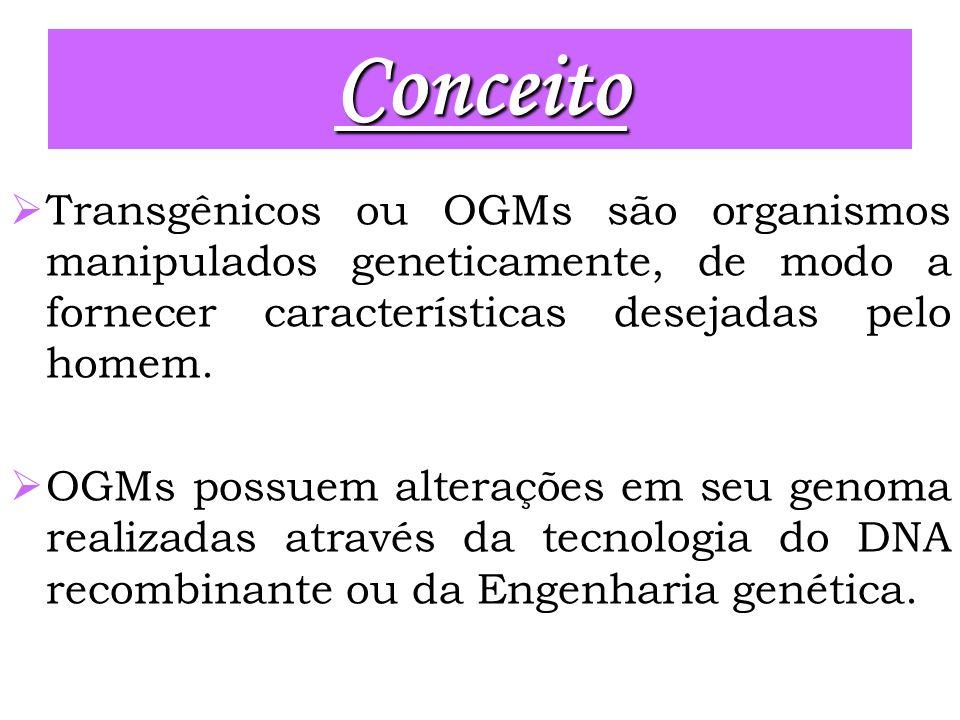 Conceito Transgênicos ou OGMs são organismos manipulados geneticamente, de modo a fornecer características desejadas pelo homem.