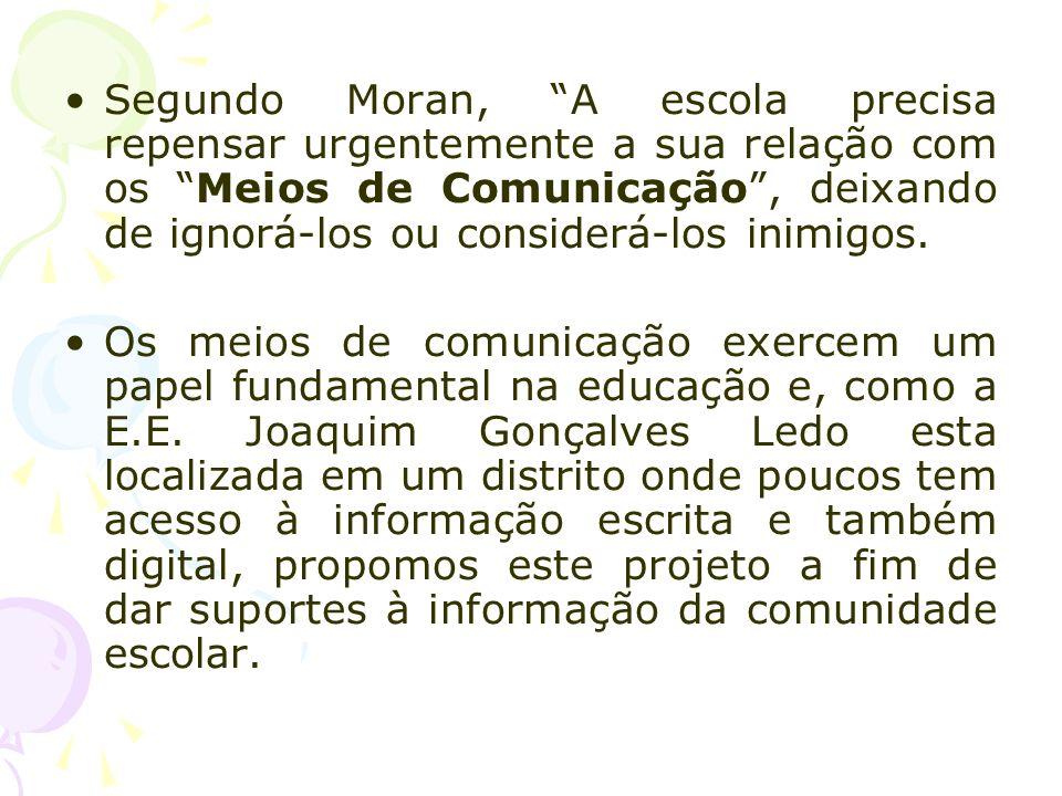 Segundo Moran, A escola precisa repensar urgentemente a sua relação com os Meios de Comunicação , deixando de ignorá-los ou considerá-los inimigos.
