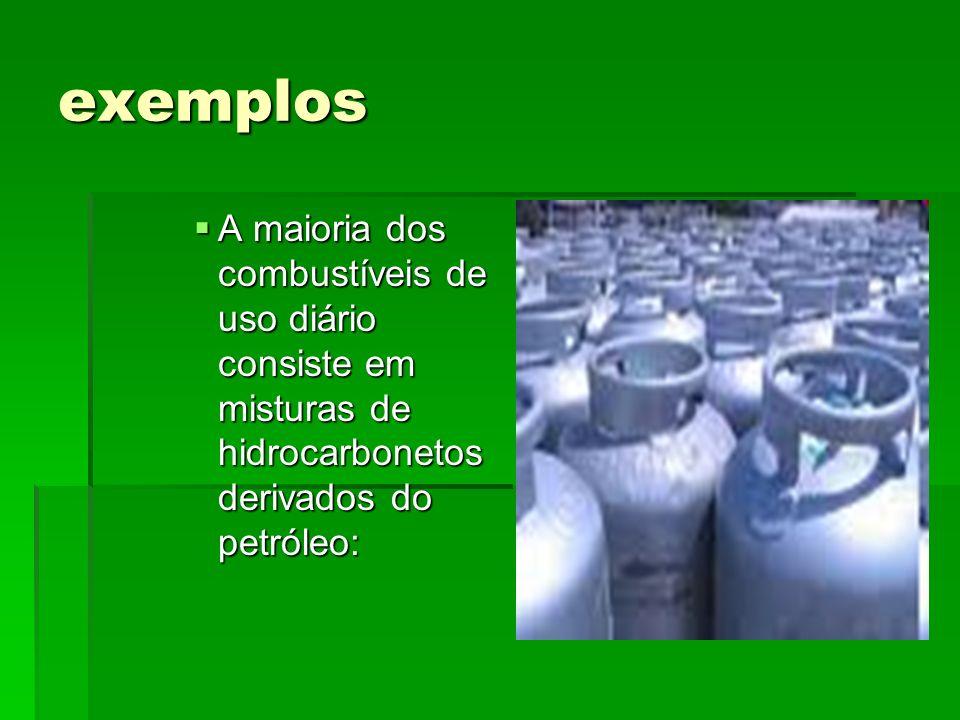 exemplos A maioria dos combustíveis de uso diário consiste em misturas de hidrocarbonetos derivados do petróleo: