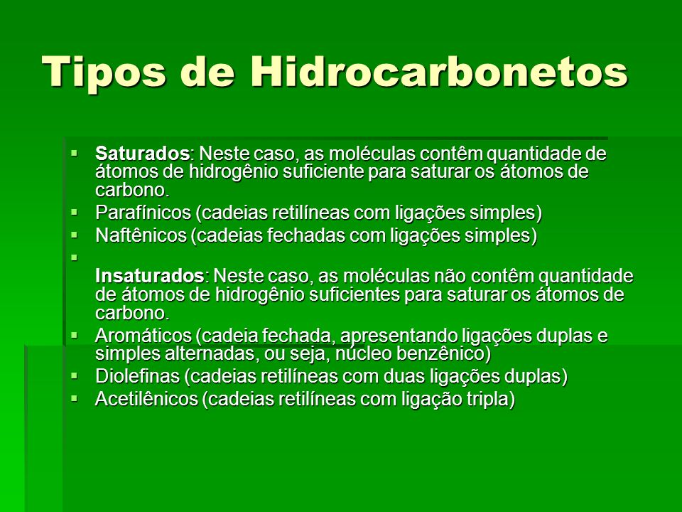 Tipos de Hidrocarbonetos