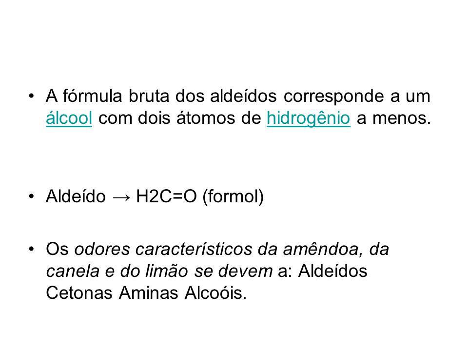 A fórmula bruta dos aldeídos corresponde a um álcool com dois átomos de hidrogênio a menos.