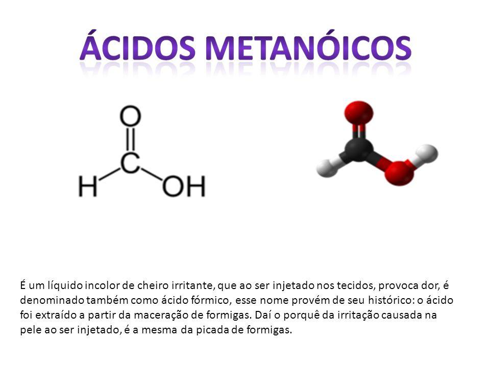 É um líquido incolor de cheiro irritante, que ao ser injetado nos tecidos, provoca dor, é denominado também como ácido fórmico, esse nome provém de seu histórico: o ácido foi extraído a partir da maceração de formigas.