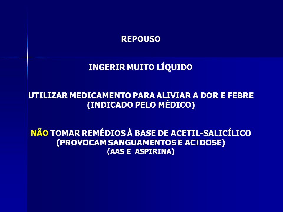 UTILIZAR MEDICAMENTO PARA ALIVIAR A DOR E FEBRE (INDICADO PELO MÉDICO)