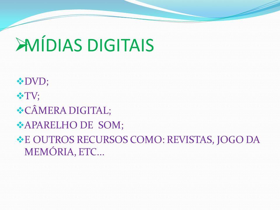 MÍDIAS DIGITAIS DVD; TV; CÂMERA DIGITAL; APARELHO DE SOM;