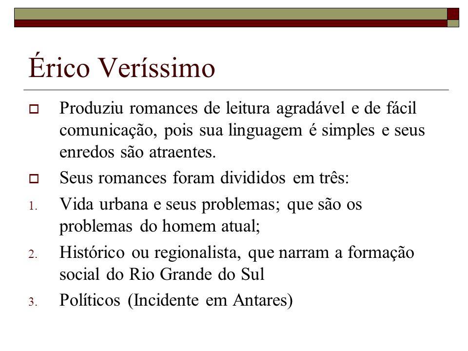 Érico Veríssimo Produziu romances de leitura agradável e de fácil comunicação, pois sua linguagem é simples e seus enredos são atraentes.