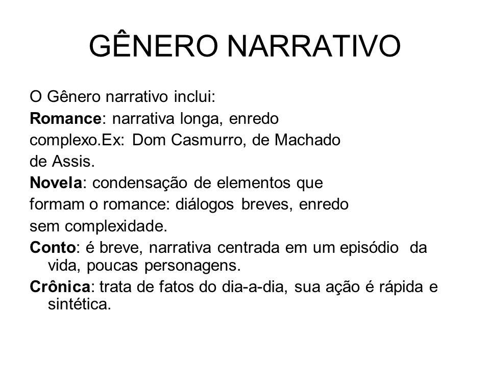 GÊNERO NARRATIVO O Gênero narrativo inclui: