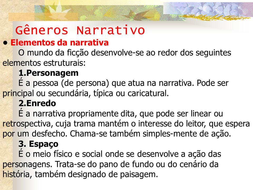 Gêneros Narrativo • Elementos da narrativa