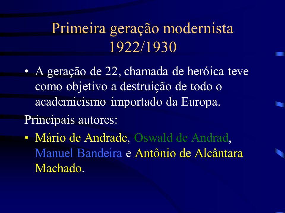 Primeira geração modernista 1922/1930