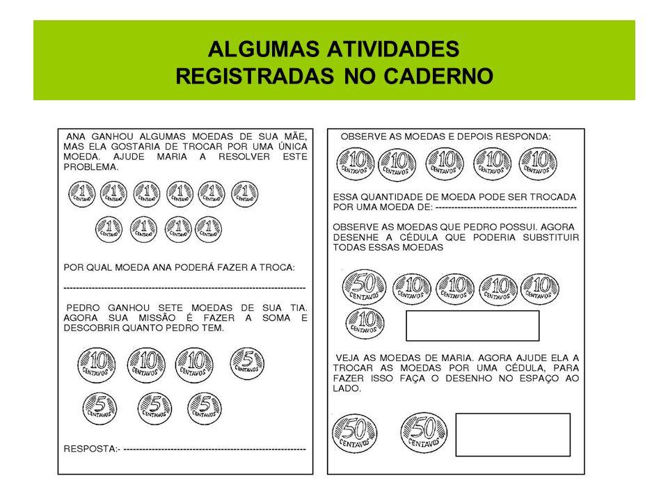ALGUMAS ATIVIDADES REGISTRADAS NO CADERNO