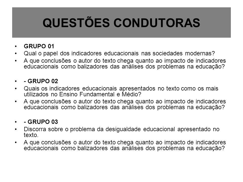QUESTÕES CONDUTORAS GRUPO 01