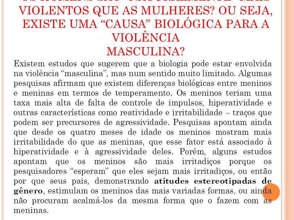 OS HOMENS SÃO NATURALMENTE MAIS VIOLENTOS QUE AS MULHERES