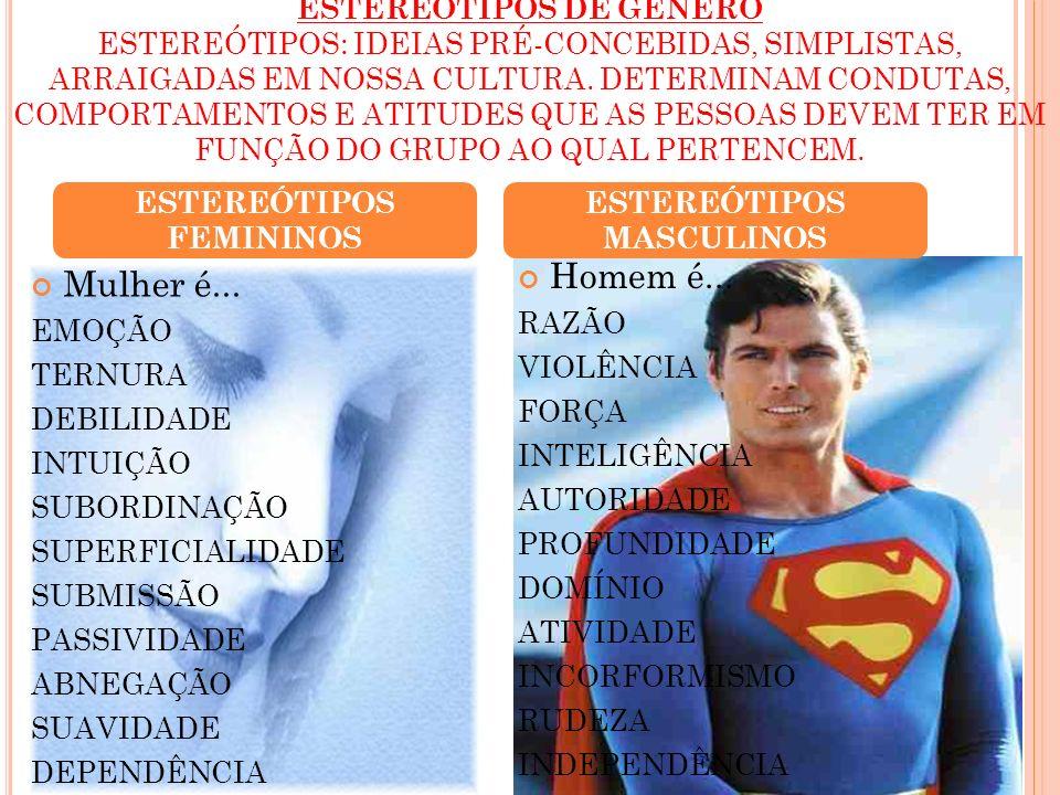 ESTEREÓTIPOS FEMININOS ESTEREÓTIPOS MASCULINOS