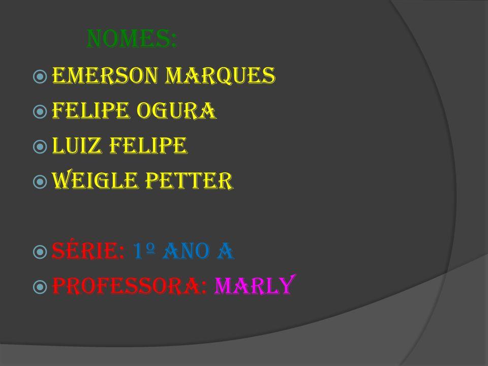 Nomes: Emerson Marques Felipe Ogura Luiz Felipe Weigle Petter Série: 1º ano A Professora: Marly