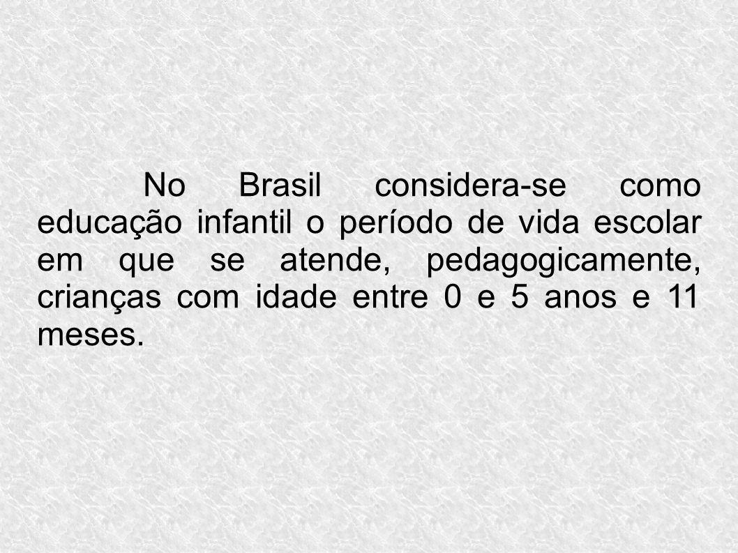 No Brasil considera-se como educação infantil o período de vida escolar em que se atende, pedagogicamente, crianças com idade entre 0 e 5 anos e 11 meses.