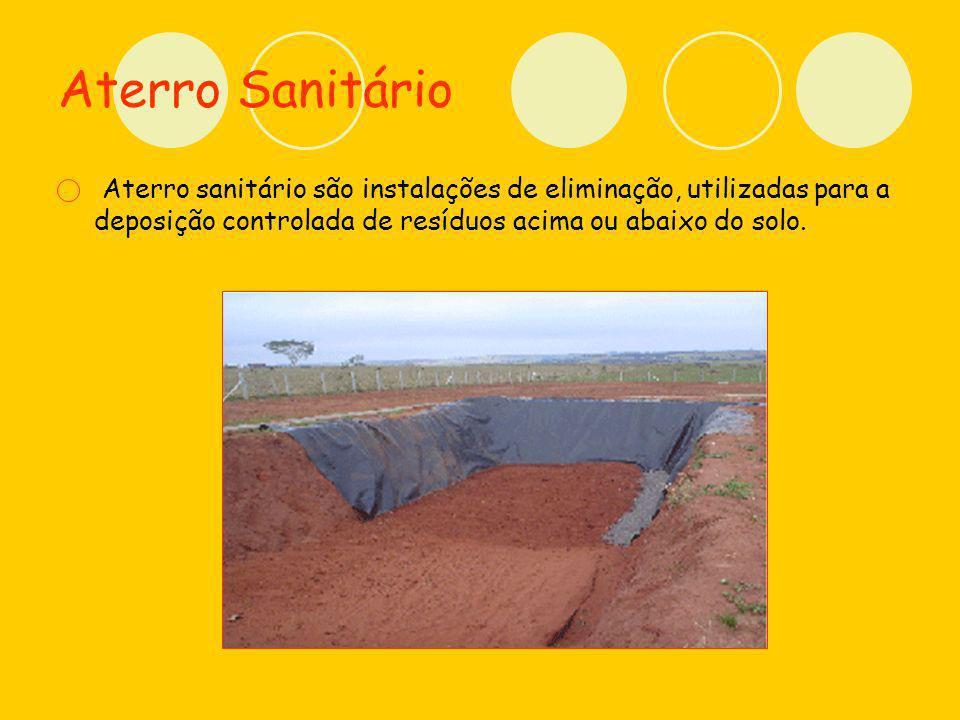 Aterro Sanitário Aterro sanitário são instalações de eliminação, utilizadas para a deposição controlada de resíduos acima ou abaixo do solo.