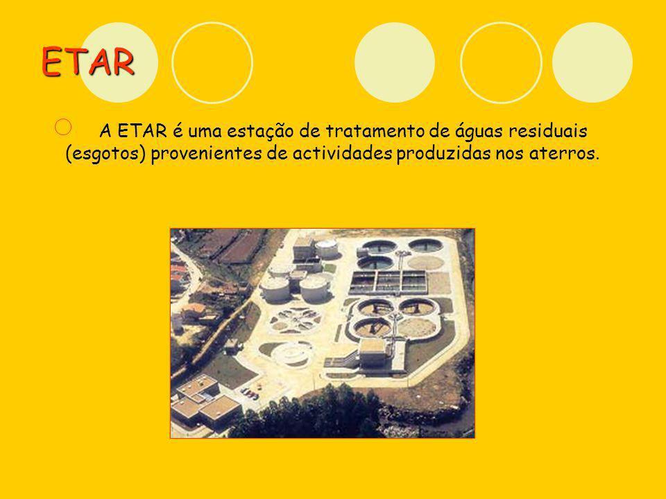 ETAR A ETAR é uma estação de tratamento de águas residuais (esgotos) provenientes de actividades produzidas nos aterros.