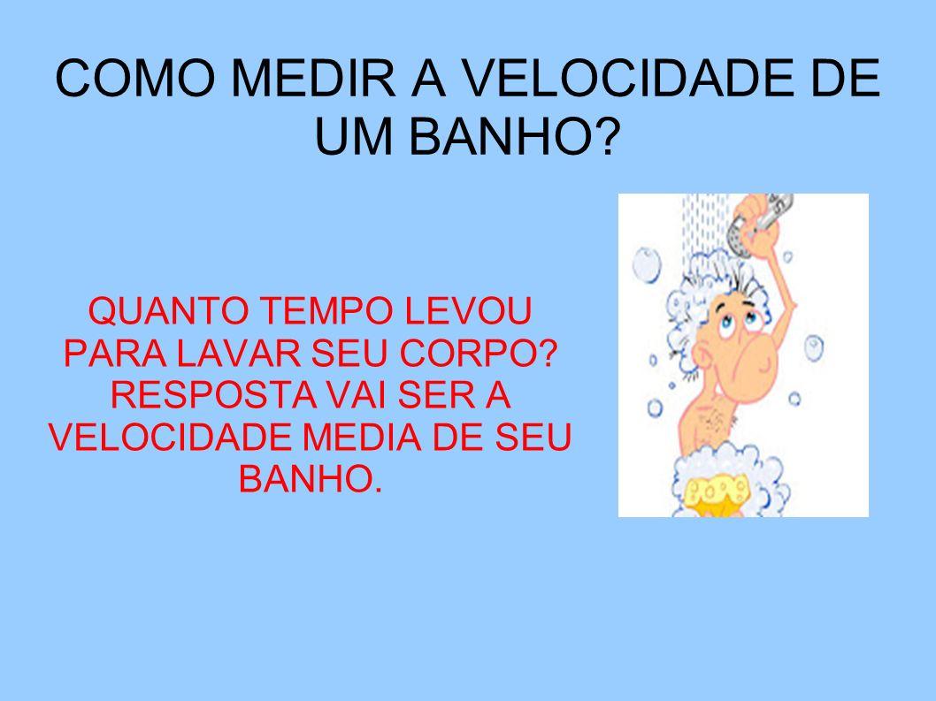 COMO MEDIR A VELOCIDADE DE UM BANHO