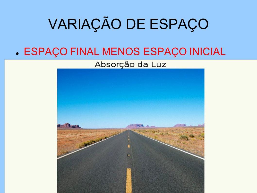 VARIAÇÃO DE ESPAÇO ESPAÇO FINAL MENOS ESPAÇO INICIAL