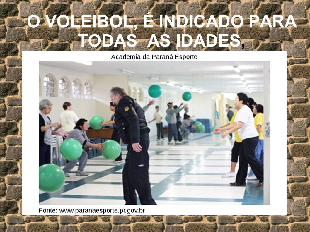 O VOLEIBOL, É INDICADO PARA TODAS AS IDADES,