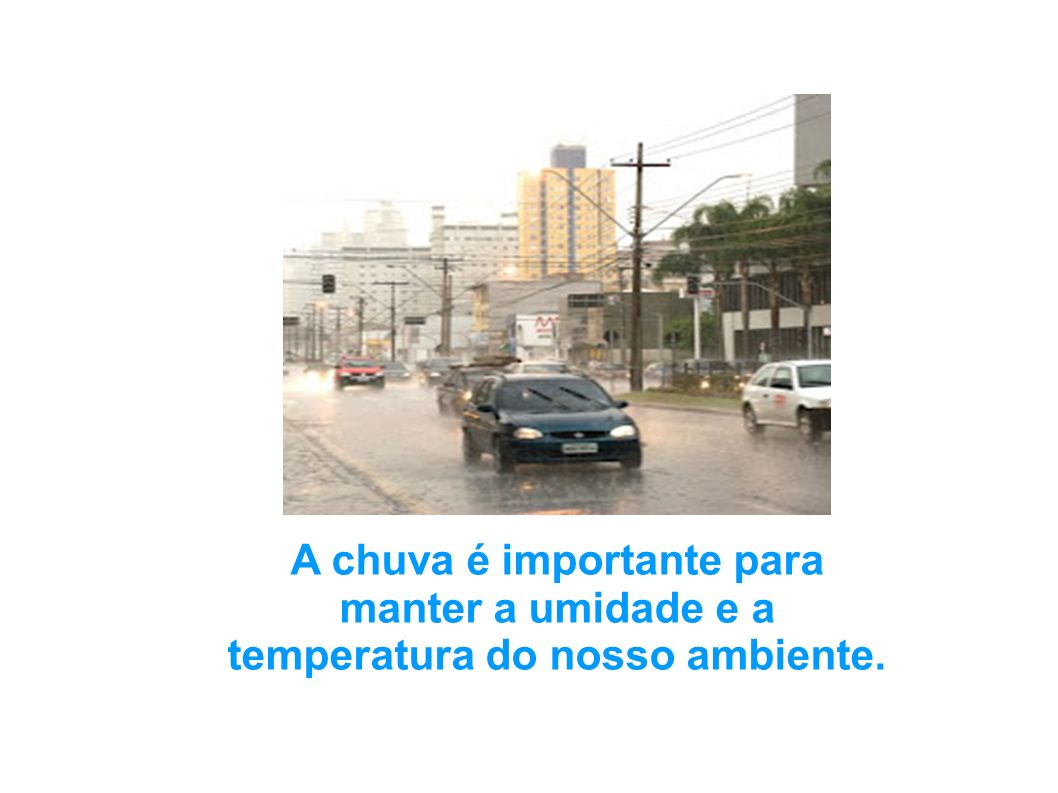 A chuva é importante para manter a umidade e a temperatura do nosso ambiente.