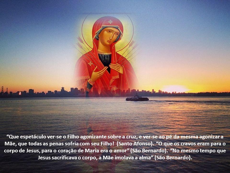 Que espetáculo ver-se o Filho agonizante sobre a cruz, e ver-se ao pé da mesma agonizar a Mãe, que todas as penas sofria com seu Filho.
