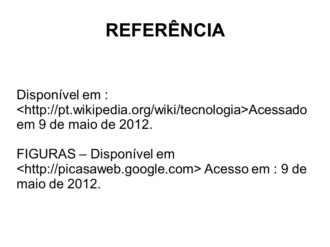 REFERÊNCIA Disponível em :