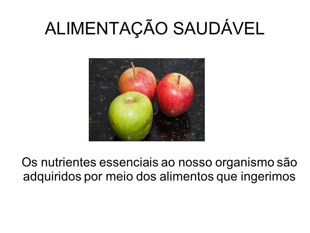 ALIMENTAÇÃO SAUDÁVEL Os nutrientes essenciais ao nosso organismo são adquiridos por meio dos alimentos que ingerimos.