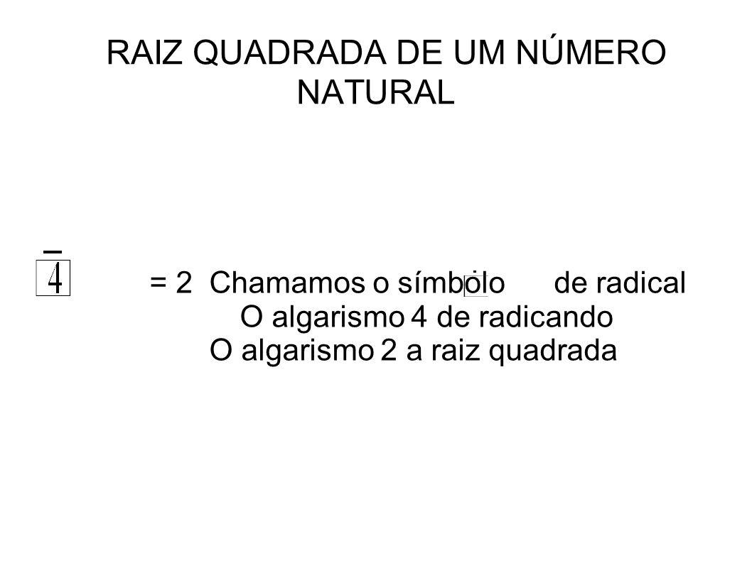 RAIZ QUADRADA DE UM NÚMERO NATURAL