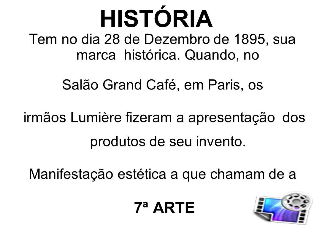 HISTÓRIA Tem no dia 28 de Dezembro de 1895, sua marca histórica. Quando, no. Salão Grand Café, em Paris, os.