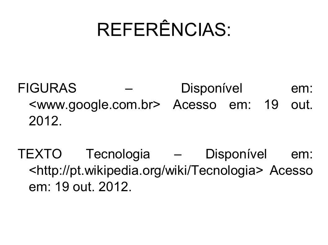REFERÊNCIAS: FIGURAS – Disponível em: <www.google.com.br> Acesso em: 19 out. 2012.