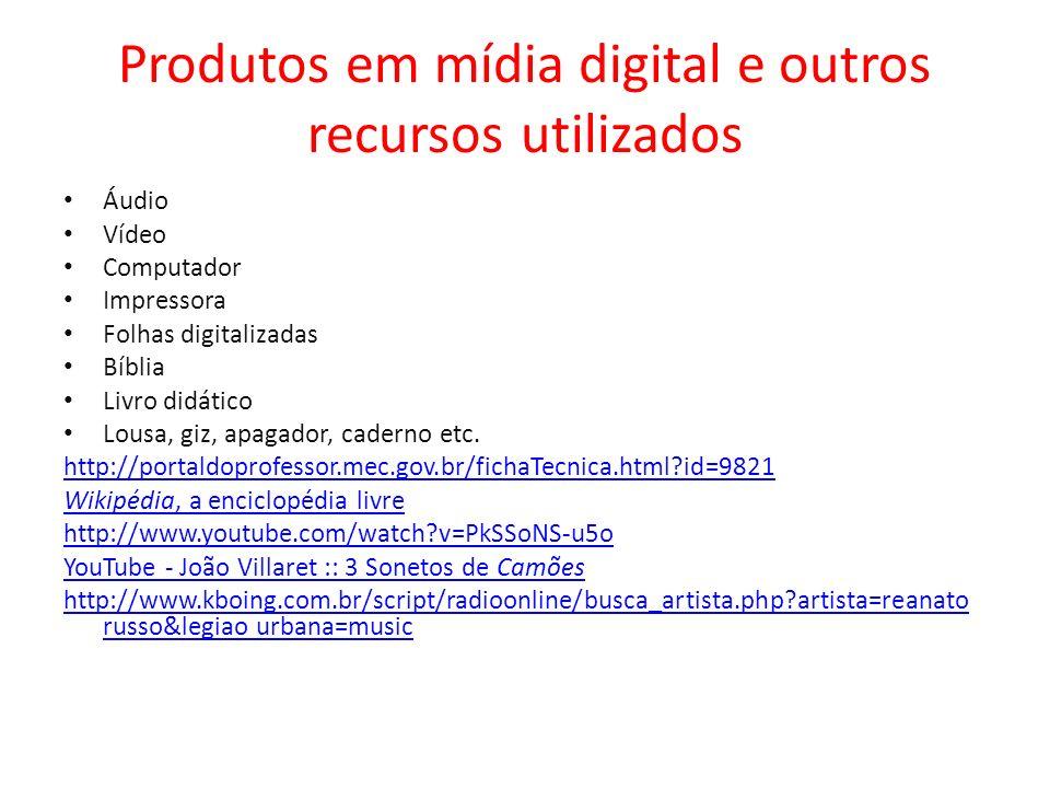 Produtos em mídia digital e outros recursos utilizados