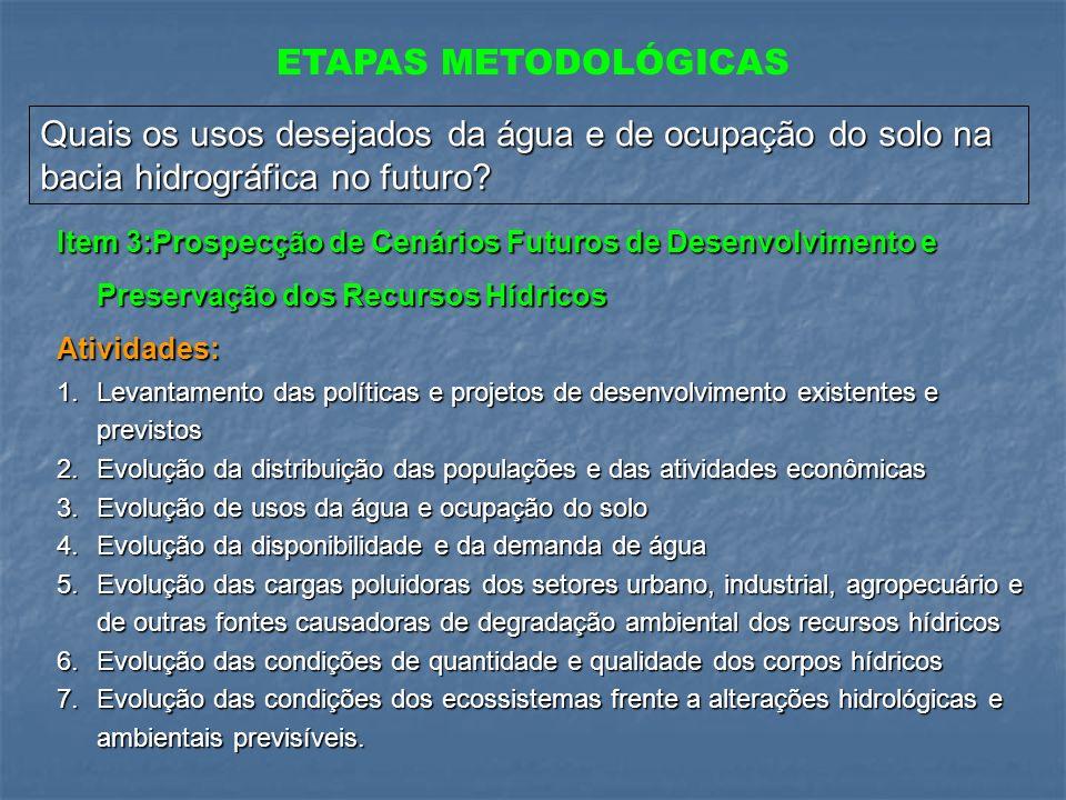 ETAPAS METODOLÓGICAS Quais os usos desejados da água e de ocupação do solo na bacia hidrográfica no futuro
