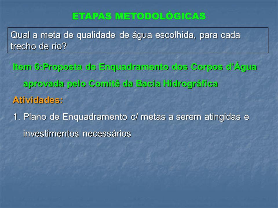 ETAPAS METODOLÓGICAS Qual a meta de qualidade de água escolhida, para cada trecho de rio
