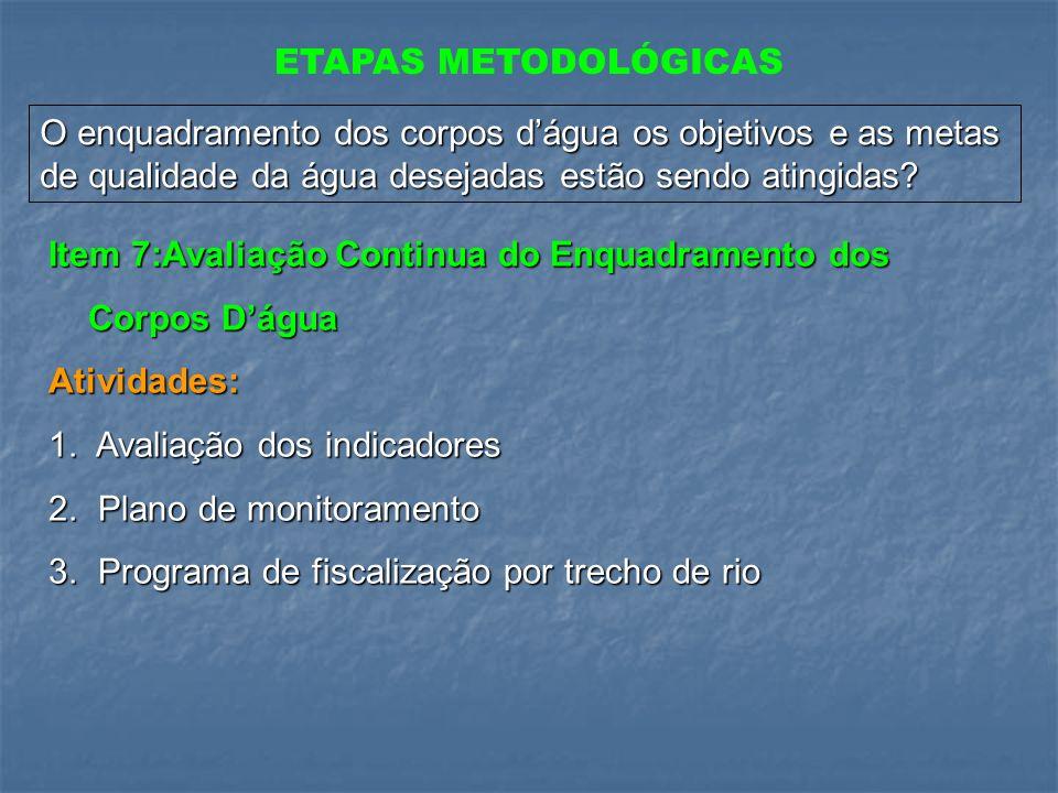 ETAPAS METODOLÓGICAS O enquadramento dos corpos d'água os objetivos e as metas de qualidade da água desejadas estão sendo atingidas