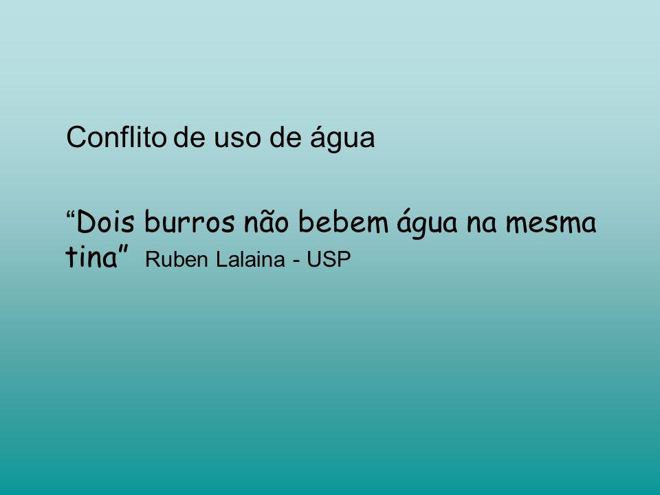 Conflito de uso de água Dois burros não bebem água na mesma tina Ruben Lalaina - USP