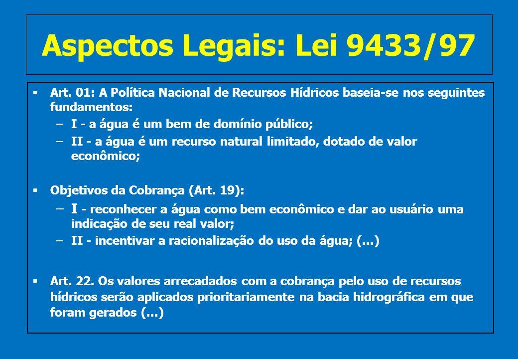 Aspectos Legais: Lei 9433/97Art. 01: A Política Nacional de Recursos Hídricos baseia-se nos seguintes fundamentos: