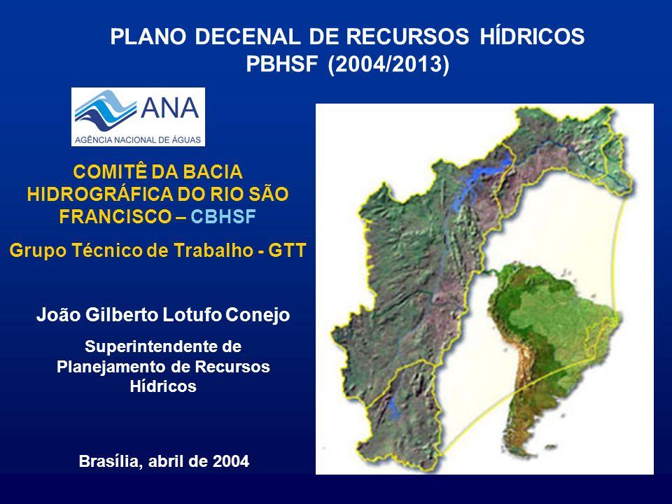 PLANO DECENAL DE RECURSOS HÍDRICOS PBHSF (2004/2013)