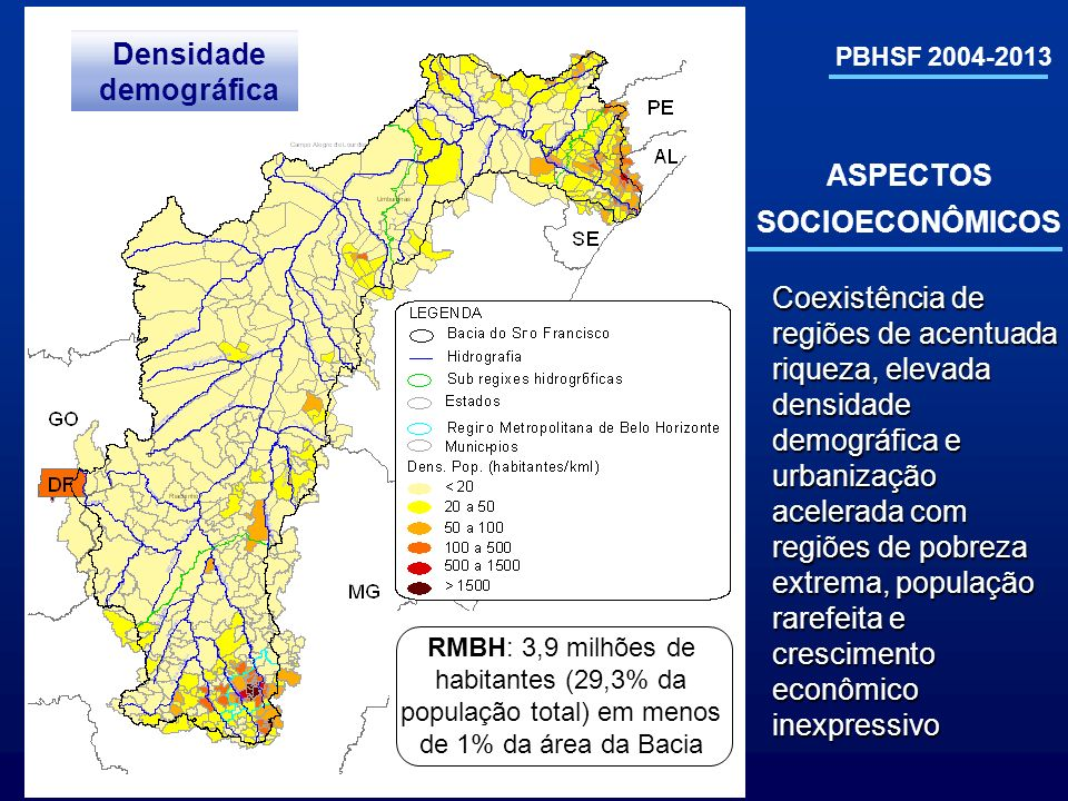 Densidade demográfica ASPECTOS SOCIOECONÔMICOS