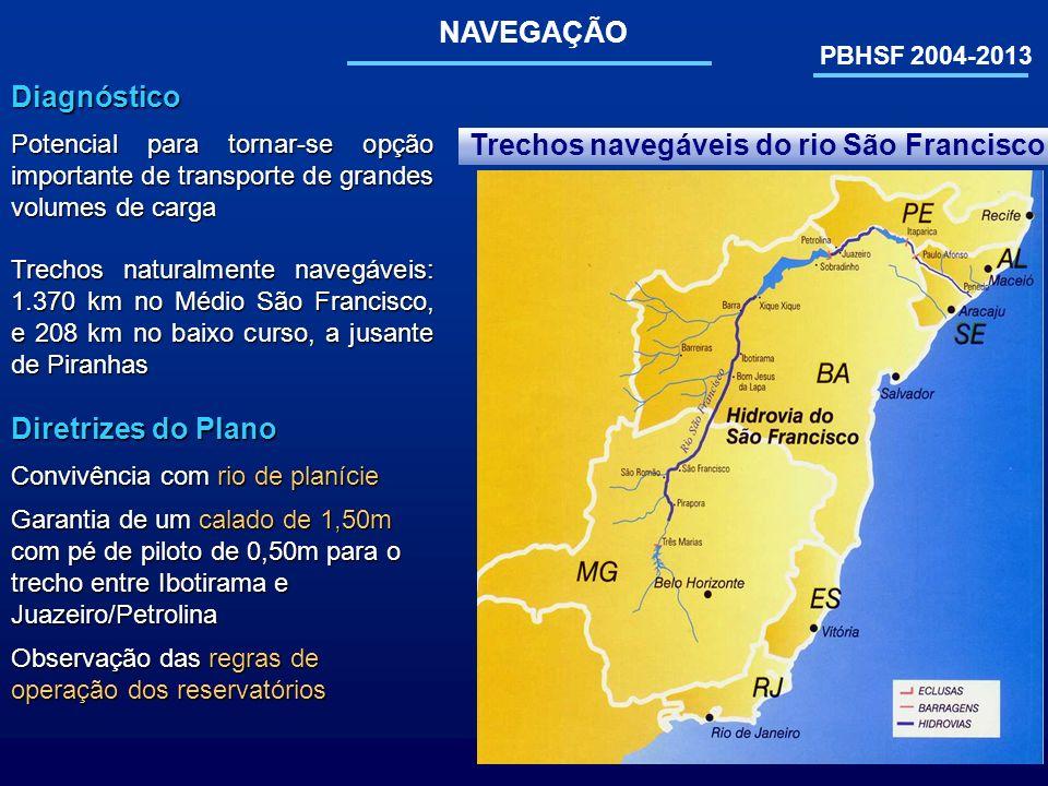Trechos navegáveis do rio São Francisco