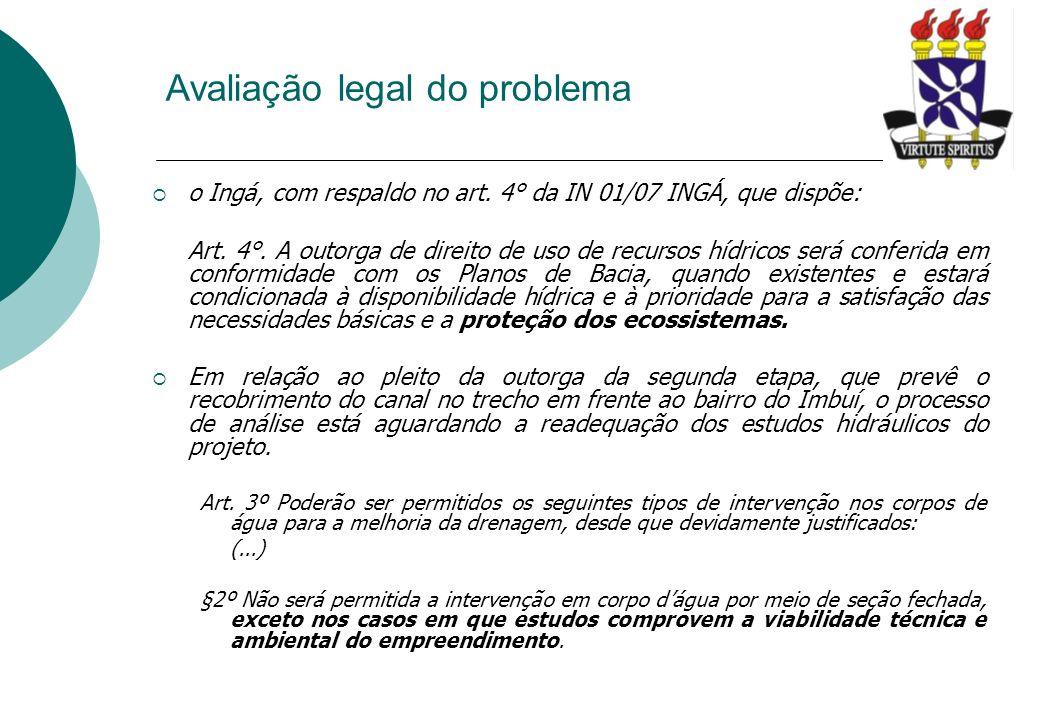 Avaliação legal do problema