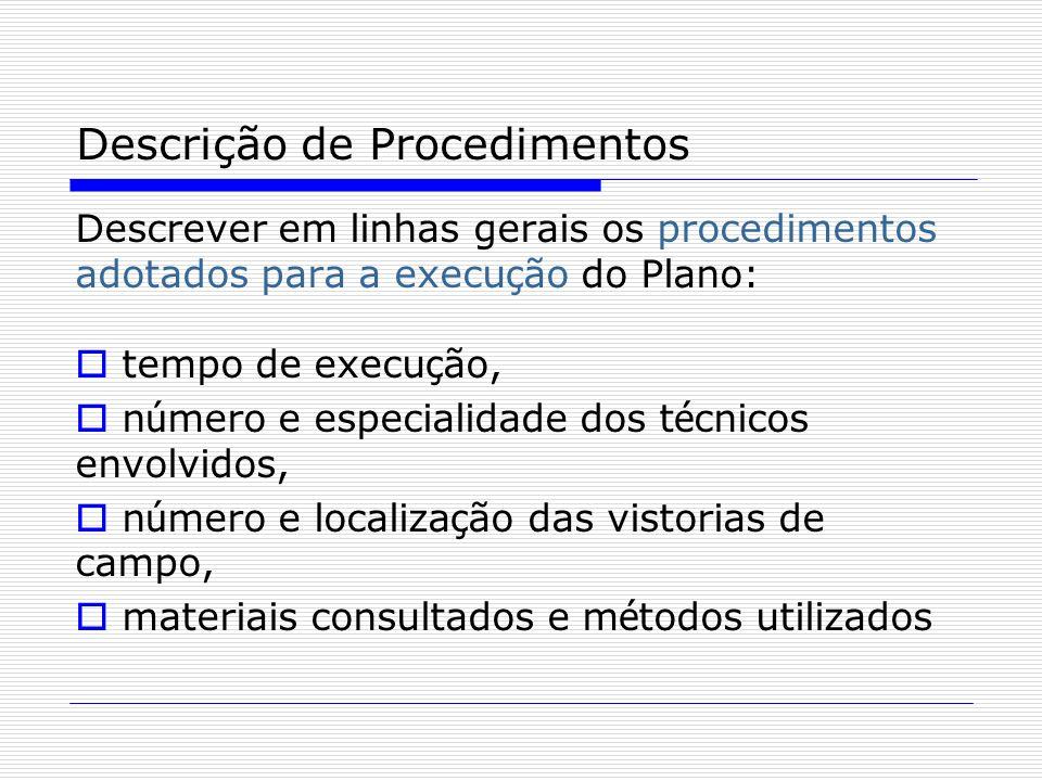 Descrição de Procedimentos