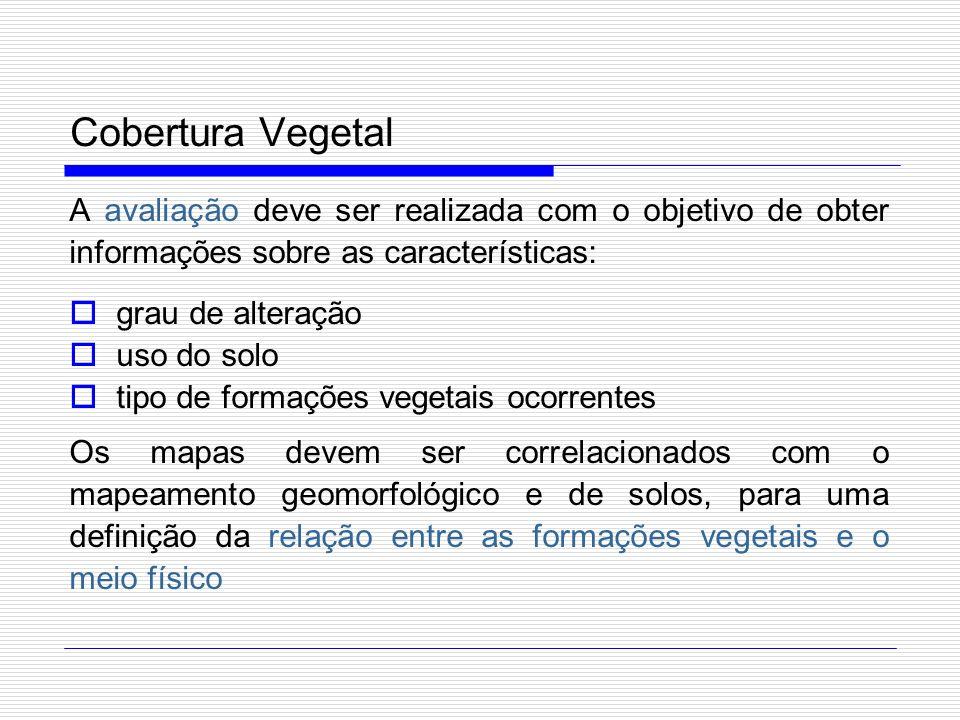 Cobertura Vegetal A avaliação deve ser realizada com o objetivo de obter informações sobre as características: