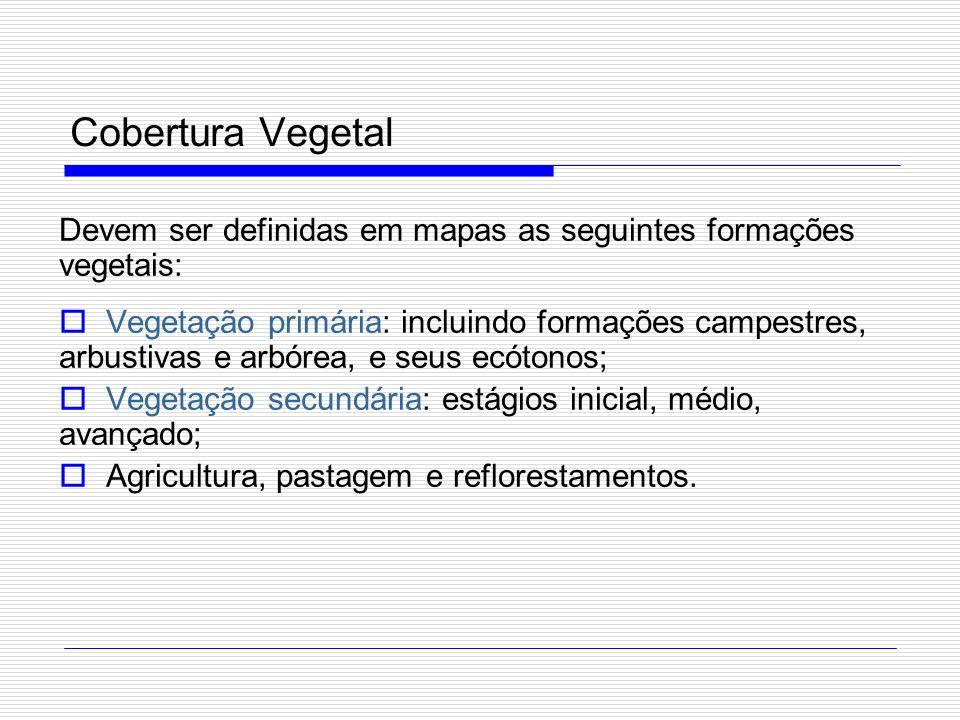 Cobertura Vegetal Devem ser definidas em mapas as seguintes formações vegetais:
