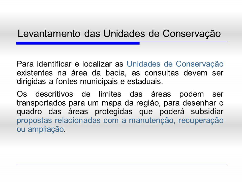 Levantamento das Unidades de Conservação